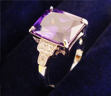 SHUANGR  Promotion 1pc Silver-Color Purple Square Cubic Zirconia CZ women's Wedding party Finger Ring size 7-9
