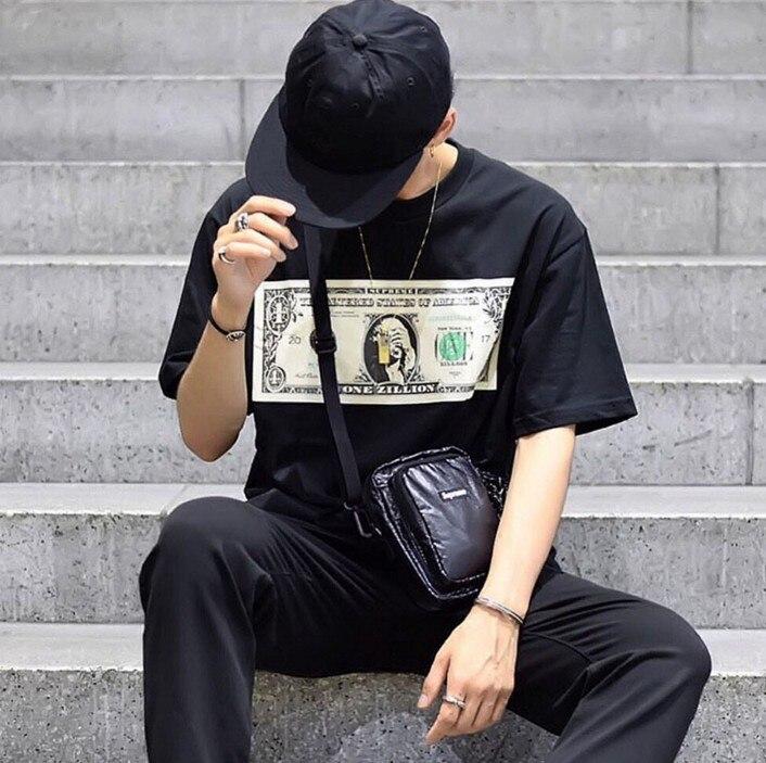 New Baolideng 2017 Men High Quality Spoof dollar T Shirts T-Shirt Hip Hop Skateboard Street Cotton T-Shirts Tee Top Gift #E33