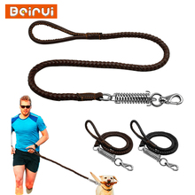 Durable Leather Dog Leash Braidded Padded Walking Running Leads with Spring Buffer for Medium Large Dogs Breeds Labrador Husky(China)