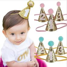 2017 New Coming Birthday Party Hat Newborn Felt Crown Headband Happy Birthday Headwear Girl Crown Headband 24Pcs/lot