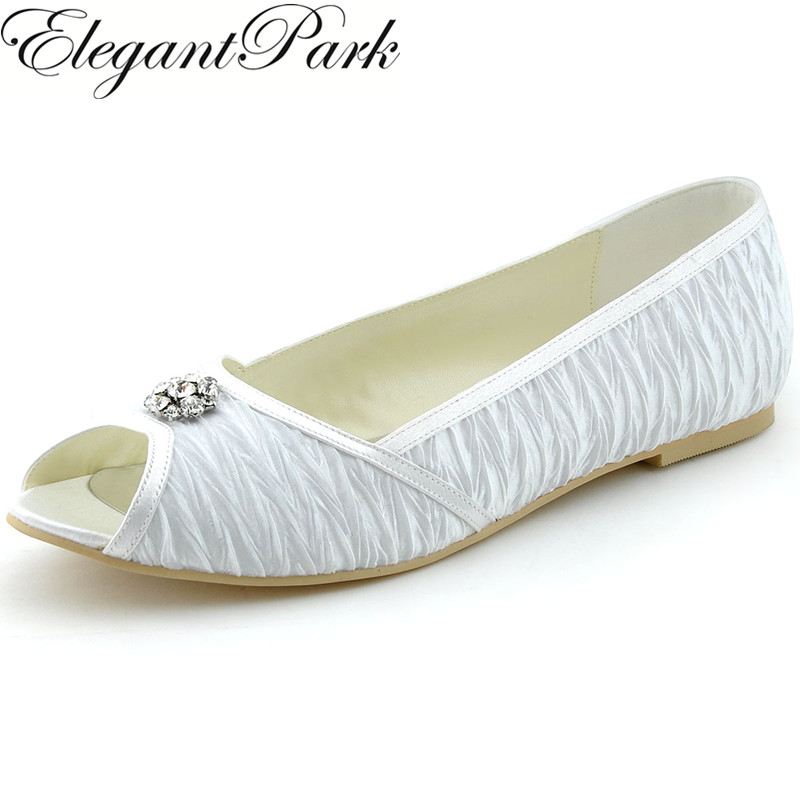 Classic  Woman Flats White Ivory Peep Toe Rhinestone Buckle Pleated Lace Ballets Bride Lady Wedding Shoes Woman Flats 1202D<br>