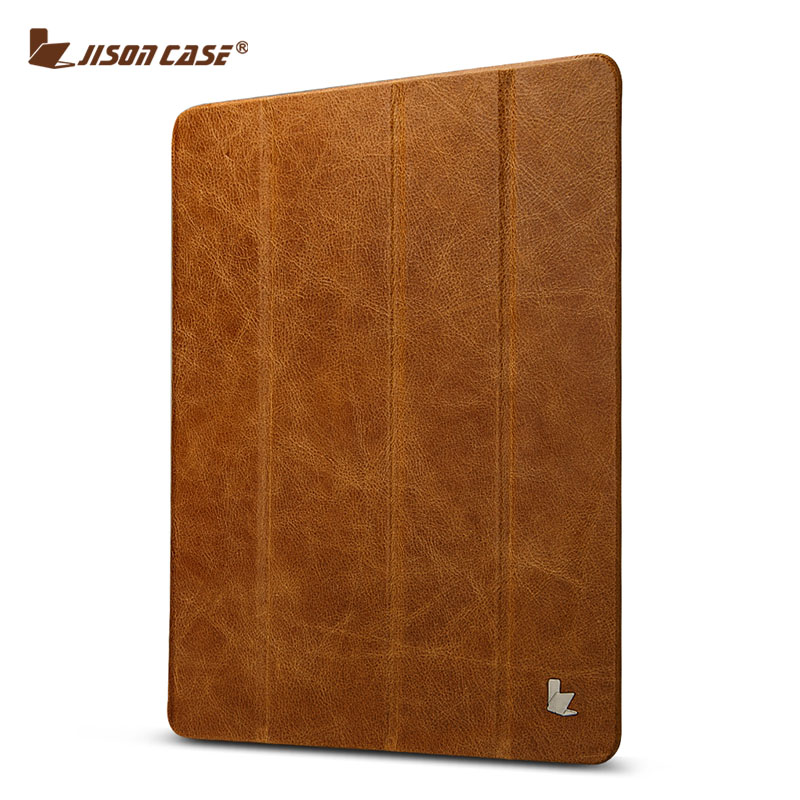 Jisoncase Luxury Genuine Leather Stand Case For iPad 2 3 4 Slim Smart Folding Folio Cover Wake up / sleep Function<br><br>Aliexpress