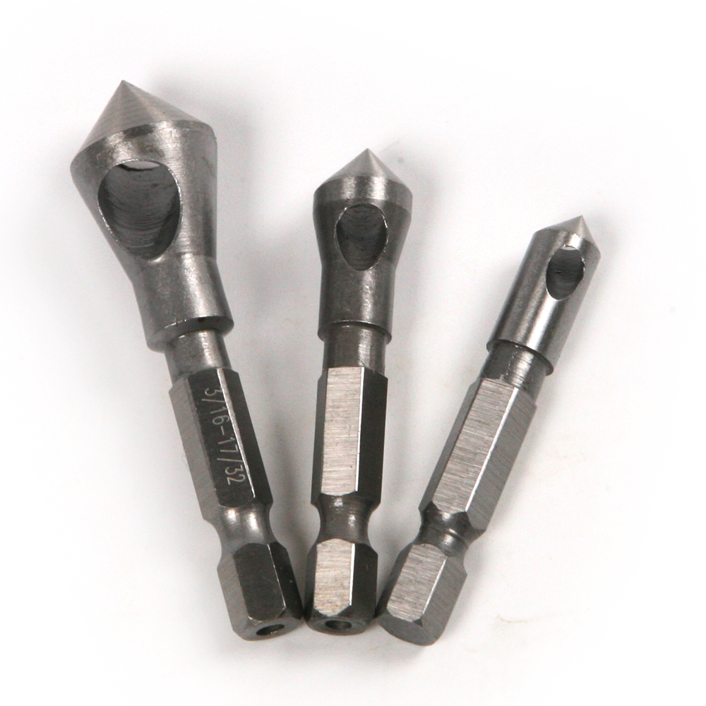 3pcs Hex Shank 90 Degree Chamfer Chamfering Reamer Cutter End Mill Drill Countersink<br><br>Aliexpress