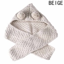 Winter Knitted Double Ball Hats Baby Girls Shawls Hooded Cowl Beanie Scarf(China)
