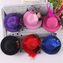 2017 New Style Cute Hat Shaped Flower Adornment Girls Feathered Hat Hair Clips Ladies Hair Accessories Fashion Hairpins