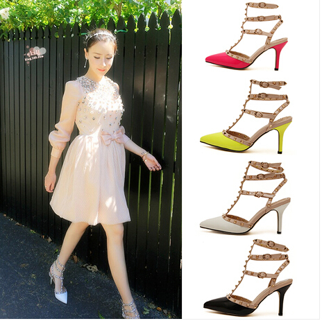 2016 USA Fashion Shoes Plus Size Pumps Women Sexy Pointed Toe High Heels Buckle Studded Sandals Sapato Feminino Shoes woman<br><br>Aliexpress