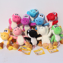 "10Pcs/Lot 4""10cm Super Mario Bros Yoshi Plush Toys Stuffed Soft Dolls With Keychains 10 Colors Free Shipping(China)"