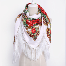 Luxury Brand for Woman Print Scarf Russian Ethnic Style Cotton Flower Pattern Tassel Winter Warm Square Blanket Scarf Shawl