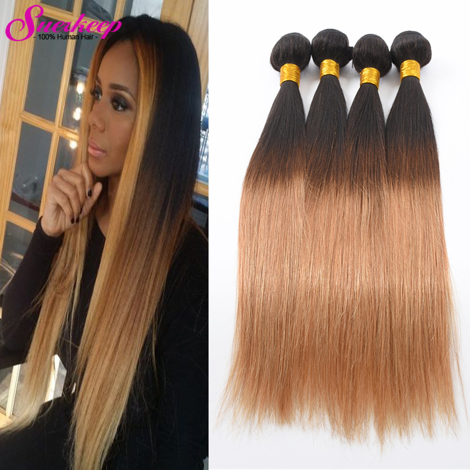 Ombre Brazilian Hair 1b/27 Brazilian Virgin Hair Straight 4Pcs Straight Brazilian Hair Weave Bundles Ombre Human Hair Bundles<br><br>Aliexpress