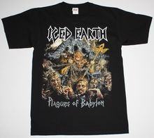 ICED EARTH WORLDWIDE PLAGUES TOUR 2014 HEAVY POWER METAL NEW BLACK T-SHIRT Printed T Shirts Short Sleeve Hipster Tee(China)