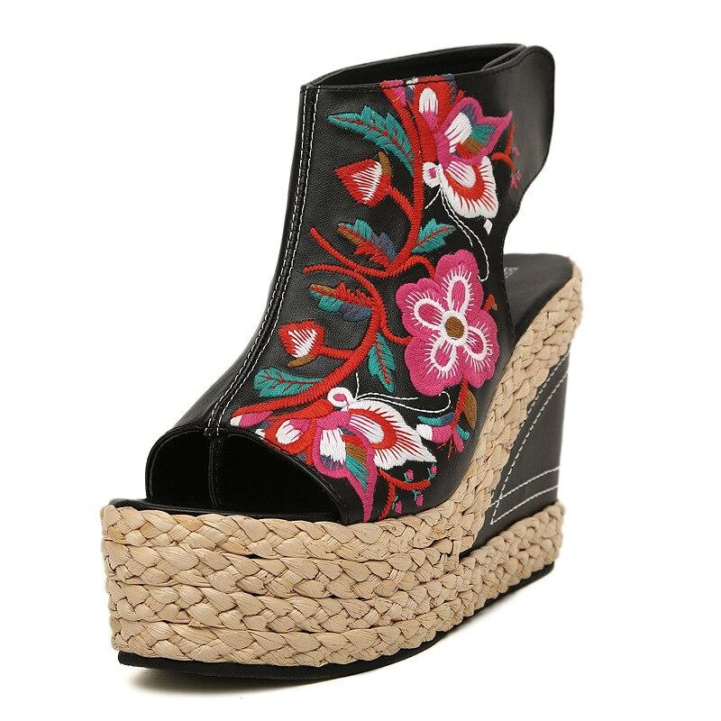 Fish Toe Wedges Sandals Gladiator Women Summer Shoes Woman Fashion Embroider Super High Heels Platform Chassure Femme Hot Sale <br>