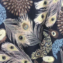vintage peacock feather chiffon fabric french designer slassic beautiful scarf fashion summer shirt african apparel sewing cloth