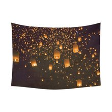 WARM TOUR Sky Flying Lantern Home Decor Wall Art, Love Wish Lanterns Tapestry Wall Hanging Art Sets 80 X 60 Inches(China)