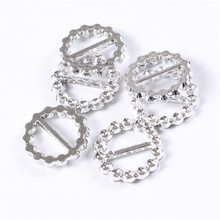 50Pcs Clear Rhinestone Buckles Ribbon Slider Diamond Round Heart Shape Diamante Wedding Invitation Card Decoration