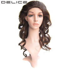 DELICE 24inch/60cm Long Deep Wave Women's High Temperature Fiber Synthetic Hair 3/4 Half Fall Party Cosplay Wigs(China)