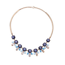 New Design Collar Blue Necklace Resin Patterned Statement Bib Charm Necklace Floral Female Jewelry