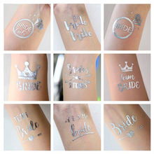 MEIDDING 1pcs Silver Flash Bride Temporary Tattoo Favor Hens Party Wedding Party Decor Bachelorette Party Bridesmaid Supplies