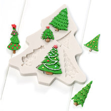 Kinds Of Christmas Tree Shape Silicone Cake Mold , Cookie Jelly Chocolate Candy Baking Mould Fondant Cake Decorating Tools