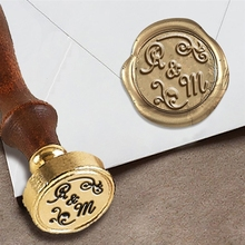 "Personalized Monogram 2-Initial Custom Wax Seal Stamp 1"" Die- #508 Amazone Font Duogram with Florals"
