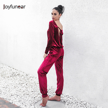 fashion Solid Color velet Loose 2 pcs suit women 2 piece set Hight quality Long Sleeve top and stretch Waist pants sets(China)