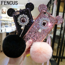 Luxury New 3D Crystal Mickey Ear Fur Ball Phone Case Full Diamond Silicone Back Cover For iphone 7plus 7 6S 6plus Phone Lanyard