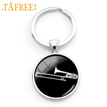 TAFREE 2017 musical instrument silhouette keychain Trombone key chain dj mixer musician jewelry jazz music band fans gift KC629(China)