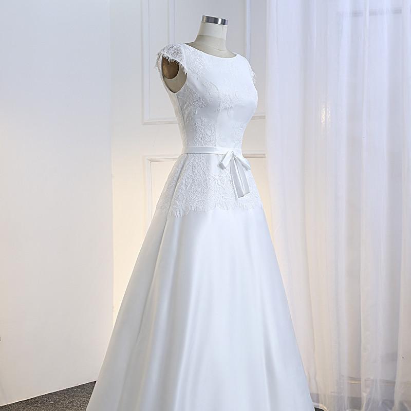 Vestido De Noiva Simples Lace and Satin Wedding Dress 2018 Cheap Bride Dress Illusion Back Floor Length Robes De Mariage 6