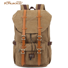 Big Brands same style KAUKKO Thick Canvas Material Vintage Backpacks Women Men Travel creeper School Backpack Laptop Bags