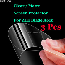 "3 Pcs/Lot For ZTE Blade A610 A 610 A610T 5.0"" HD Clear / Anti-Glare Matte Front Screen Protector Touch Film Protection Skin(China)"
