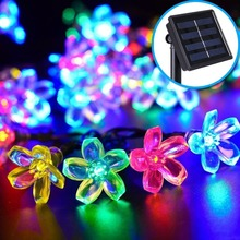 Solar 7M 50 LEDS Peach Flower Solar Lamp Power LED String Fairy Lights Solar Garlands Garden Holiday Decor For Outdoor(China)