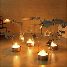 Romantic Spinning Rotary Metal Carousel Tea Light Stand Candle Holder Wedding Home Decoration Color Sliver