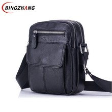 Genuine Leather Bag Men Messenger Bags Men's Crossbody Bag Small sacoche homme Satchel Man Cow Leather Shoulder Bags L4-3241(China)
