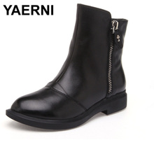 YAERNI new fashion Side zipper Handmade genuine leather boots womens winter boots women Ankle boots women shoes