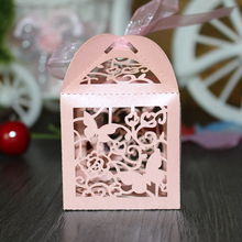 100pcs Butterfly Laser Candy Gift Boxes Wedding Party Favor With Ribbon Weeding Gift Box Candy Bags Decor