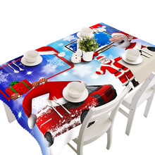 Merry Christmas Rectangle Printed Polyester Fabric Party Picnic Waterproof Tablecloth 70*150cm Table Cloth Christmas Decor(China)