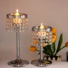 K9 Crystal Beads Candle Holder Metal Candlestic Wedding Centerpiece Christmas Home Decor Moroccan Lanterns(China)