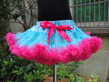 Hot sale blue and rose tutu skirt girls pettiskirts with red bow 5 pieces/lot PETS-094(China)