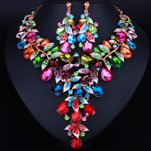 Unique Tree rattan Design Multicolor Crystal Glass Statement Necklace and Earrings Set Fashion Dubai Bridal Wedding Jewelry sets