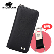 BISON DENIM 2016 Brand Designer Top Cowhide Leather Men's Long Wallet Clutch Wrist bag black wallets & purses card holder N8018(China)