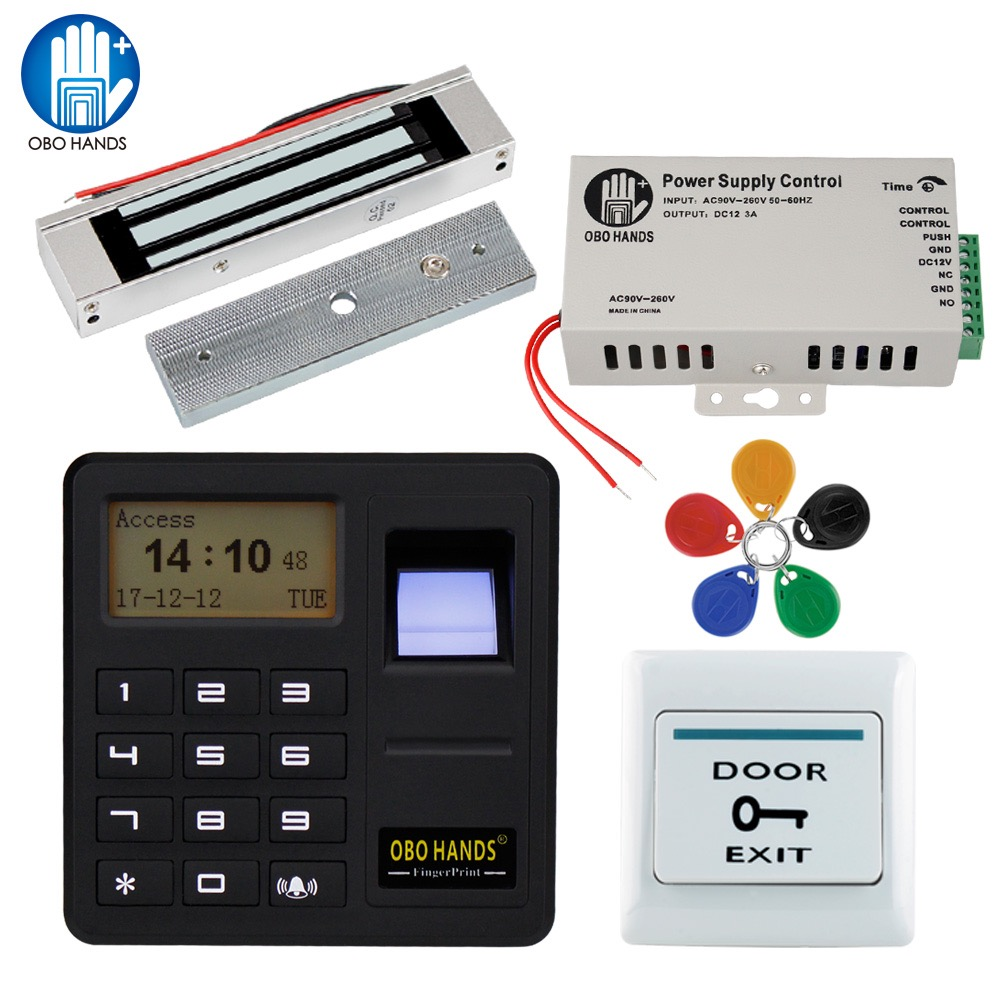 Biometric Fingerprint Reader System RFID Fingerprint Scanner Access Control System Kit Full Set with Electric Lock+Power Supply<br>