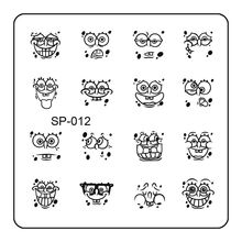 Happy Smile Sponge Designed Nail Art Stamp Stamping Template Cute Face Metal Image Plate DIY Tools SP-012