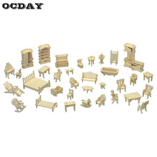 OCDAY 34 Pieces/set Wooden Doll House Furniture Set DIY 3D Puzzle Jigsaw Scale Miniature Model Dolls Accessories for Girl Gifts(China)