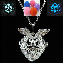 Free shipping Y20935 Dull Silver Rhinestone Fragrance Diffuser Women Heart Dangle Locket Necklace 24""