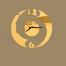 wall stickers clock Modern Design DIY Wall Clock vintage home decor living room Mirror Sticker Luxury decoration 2017 Gold Black(China)