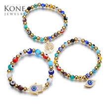 Mystic Evil Eye Cuff Stainless Steel Fatima Hand Beads Chain Bracelets For Women Daily Jewelry Gift Drop Ship