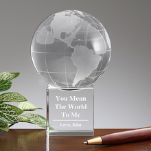 Personalized Premium Crystal Globe Award Paperweight You Mean the World To Me
