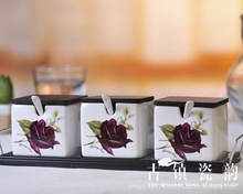 three-piece bone china purple rose ceramic spice jar salt and pepper seasoning bottle set herb&spice tools kitchen supplies