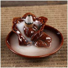 HOT SALE Ceramic Lotus Flower Incense Burner Holder #7 Reddish brown