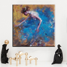xh2430 modern abstract canvas art beautiful dancer in blue canvas oil art painting for living room bedroom decoration unframed