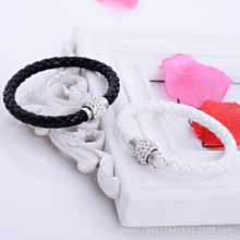 1 Colors Wholesale TOP Quality PU Leather Bracelets For Women Handmade Shamballa Bracelet With Magnetic Clasp